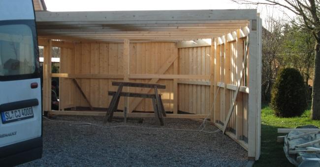 carport aus fichtenholz holzbau jensen. Black Bedroom Furniture Sets. Home Design Ideas